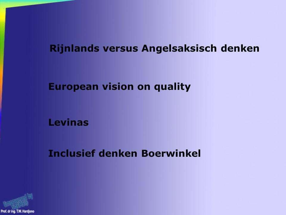 European vision on quality Levinas Rijnlands versus Angelsaksisch denken Inclusief denken Boerwinkel