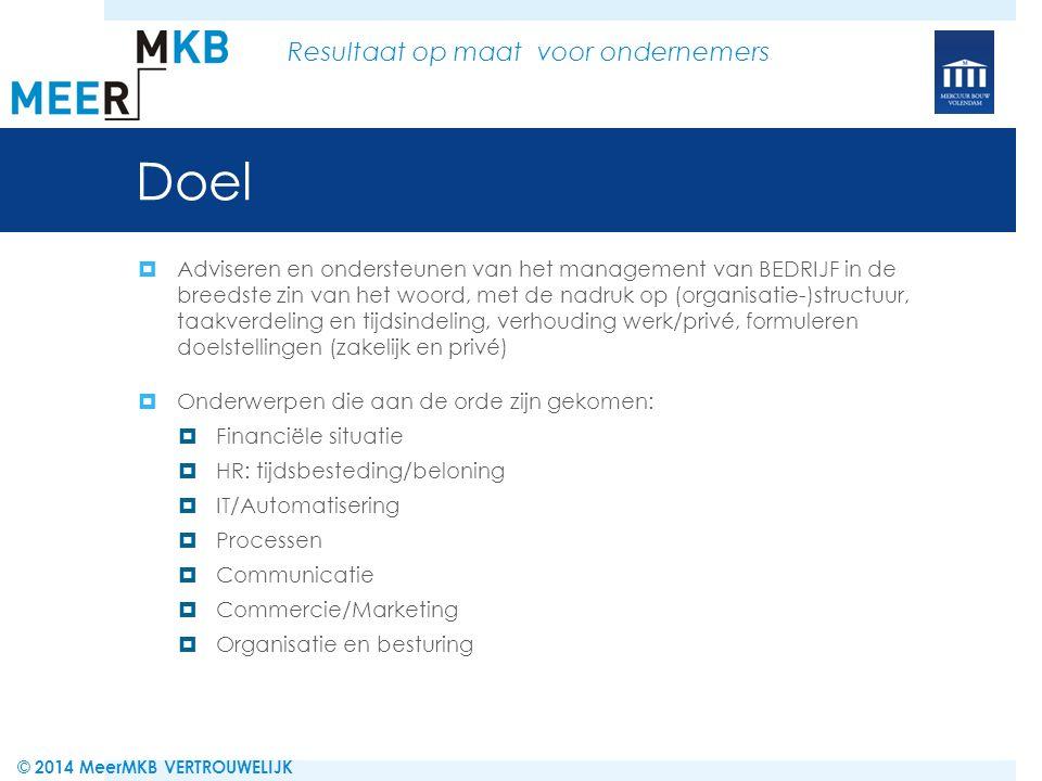Processen: bevindingen  Blabla © 2014 MeerMKB VERTROUWELIJK Resultaat op maat voor ondernemers