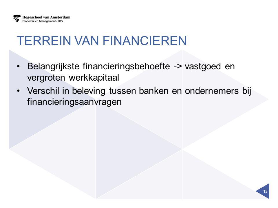 TERREIN VAN FINANCIEREN Belangrijkste financieringsbehoefte -> vastgoed en vergroten werkkapitaal Verschil in beleving tussen banken en ondernemers bi