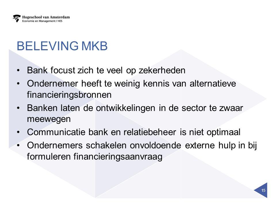 BELEVING MKB Bank focust zich te veel op zekerheden Ondernemer heeft te weinig kennis van alternatieve financieringsbronnen Banken laten de ontwikkeli
