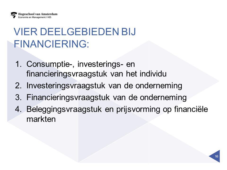 VIER DEELGEBIEDEN BIJ FINANCIERING: 1.Consumptie-, investerings- en financieringsvraagstuk van het individu 2.Investeringsvraagstuk van de onderneming