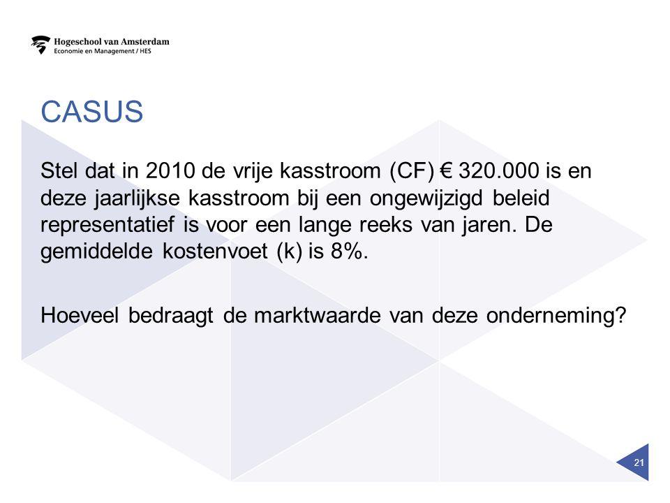 CASUS Stel dat in 2010 de vrije kasstroom (CF) € 320.000 is en deze jaarlijkse kasstroom bij een ongewijzigd beleid representatief is voor een lange r