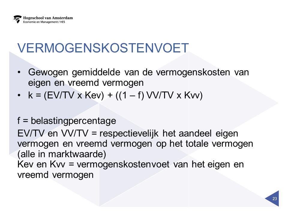 VERMOGENSKOSTENVOET Gewogen gemiddelde van de vermogenskosten van eigen en vreemd vermogen k = (EV/TV x Kev) + ((1 – f) VV/TV x Kvv) f = belastingperc