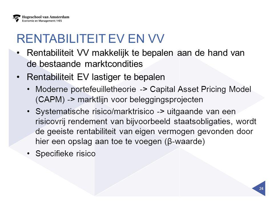 RENTABILITEIT EV EN VV Rentabiliteit VV makkelijk te bepalen aan de hand van de bestaande marktcondities Rentabiliteit EV lastiger te bepalen Moderne