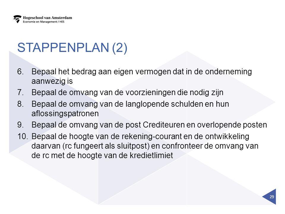 STAPPENPLAN (2) 6.Bepaal het bedrag aan eigen vermogen dat in de onderneming aanwezig is 7.Bepaal de omvang van de voorzieningen die nodig zijn 8.Bepa