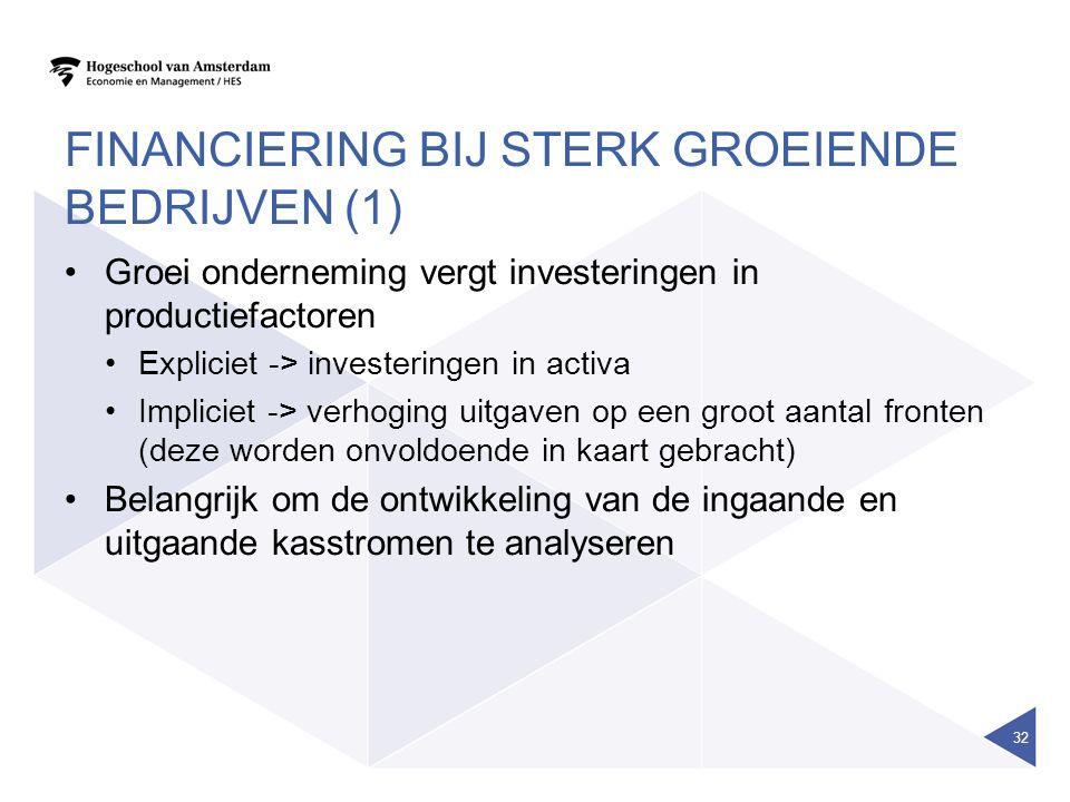 FINANCIERING BIJ STERK GROEIENDE BEDRIJVEN (1) Groei onderneming vergt investeringen in productiefactoren Expliciet -> investeringen in activa Implici