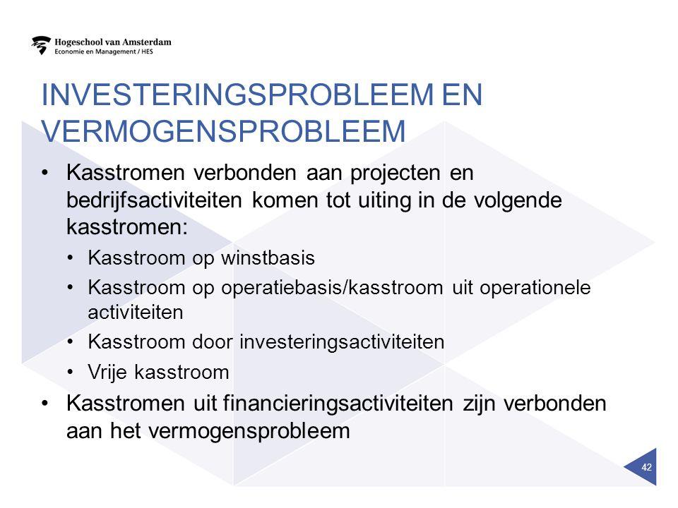 INVESTERINGSPROBLEEM EN VERMOGENSPROBLEEM Kasstromen verbonden aan projecten en bedrijfsactiviteiten komen tot uiting in de volgende kasstromen: Kasst