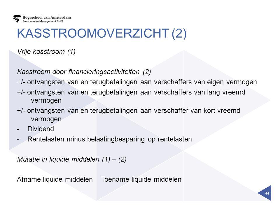 KASSTROOMOVERZICHT (2) Vrije kasstroom (1) Kasstroom door financieringsactiviteiten (2) +/- ontvangsten van en terugbetalingen aan verschaffers van ei