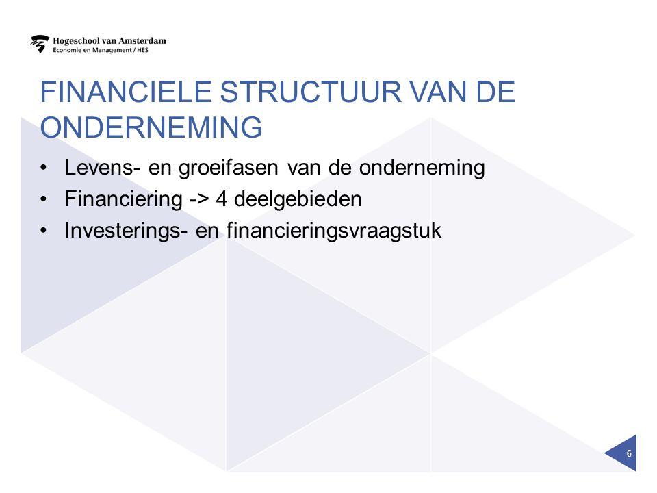 FINANCIELE STRUCTUUR VAN DE ONDERNEMING Levens- en groeifasen van de onderneming Financiering -> 4 deelgebieden Investerings- en financieringsvraagstu