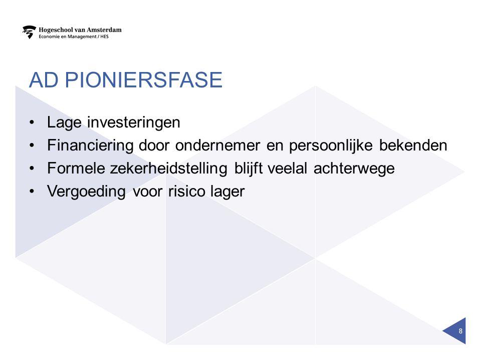 AD PIONIERSFASE Lage investeringen Financiering door ondernemer en persoonlijke bekenden Formele zekerheidstelling blijft veelal achterwege Vergoeding