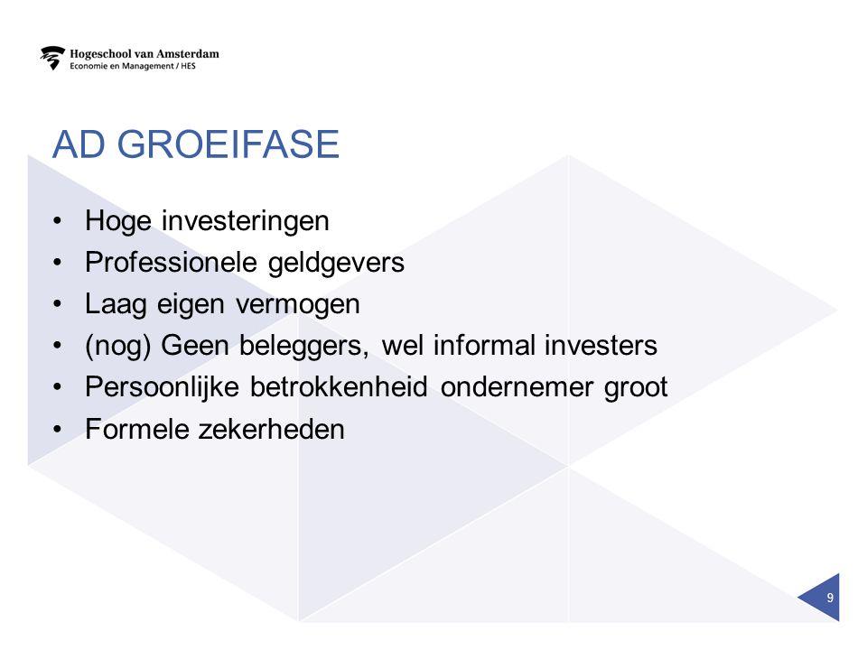 AD GROEIFASE Hoge investeringen Professionele geldgevers Laag eigen vermogen (nog) Geen beleggers, wel informal investers Persoonlijke betrokkenheid o