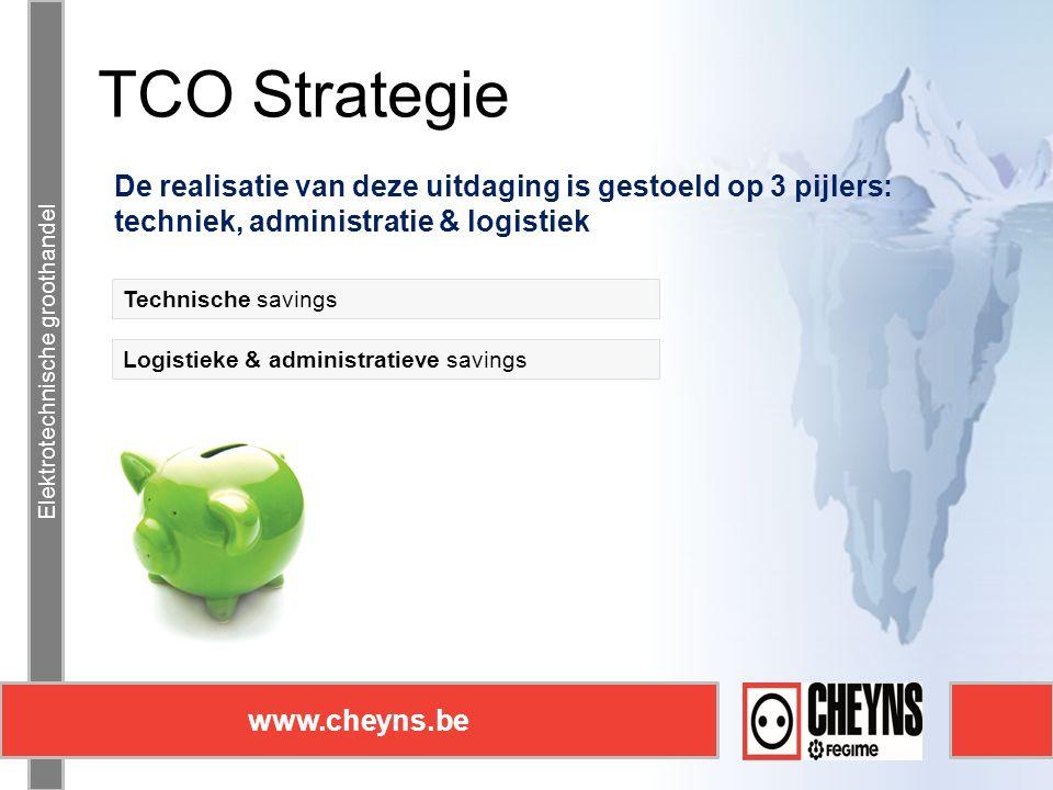 Elektrotechnische groothandel www.cheyns.be TCO Strategie Elektrotechnische groothandel www.cheyns.be De realisatie van deze uitdaging is gestoeld op 3 pijlers: techniek, administratie & logistiek Logistieke & administratieve savings Technische savings