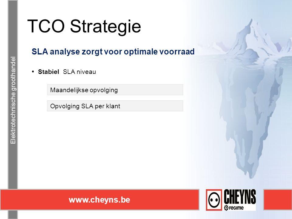 Elektrotechnische groothandel www.cheyns.be TCO Strategie Elektrotechnische groothandel www.cheyns.be SLA analyse zorgt voor optimale voorraad Stabiel SLA niveau Maandelijkse opvolging Opvolging SLA per klant