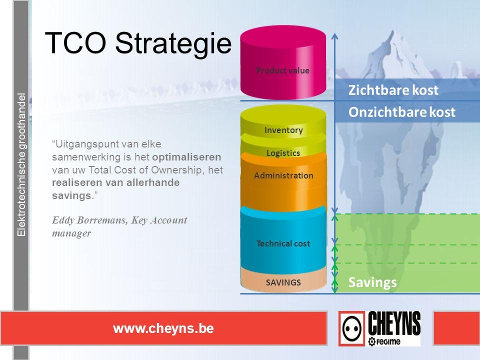 Elektrotechnische groothandel www.cheyns.be TCO Strategie Elektrotechnische groothandel www.cheyns.be Technical cost SAVINGS Logistics Administration Technical cost Inventory SAVINGS Logistics Administration Technical cost Administration Technical cost SAVINGS Administration Logistics Inventory Product value Uitgangspunt van elke samenwerking is het optimaliseren van uw Total Cost of Ownership, het realiseren van allerhande savings. Eddy Borremans, Key Account manager Zichtbare kost Onzichtbare kost Savings
