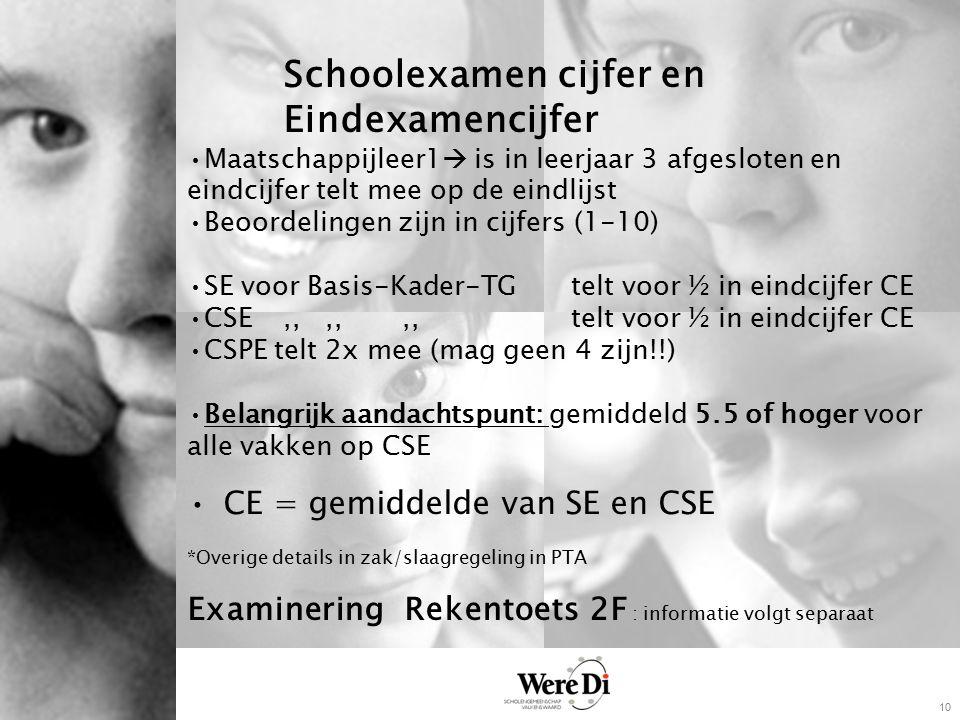 10 Schoolexamen cijfer en Eindexamencijfer Maatschappijleer1  is in leerjaar 3 afgesloten en eindcijfer telt mee op de eindlijst Beoordelingen zijn in cijfers (1-10) SE voor Basis-Kader-TG telt voor ½ in eindcijfer CE CSE,,,,,,telt voor ½ in eindcijfer CE CSPE telt 2x mee (mag geen 4 zijn!!) Belangrijk aandachtspunt: gemiddeld 5.5 of hoger voor alle vakken op CSE CE = gemiddelde van SE en CSE *Overige details in zak/slaagregeling in PTA Examinering Rekentoets 2F : informatie volgt separaat