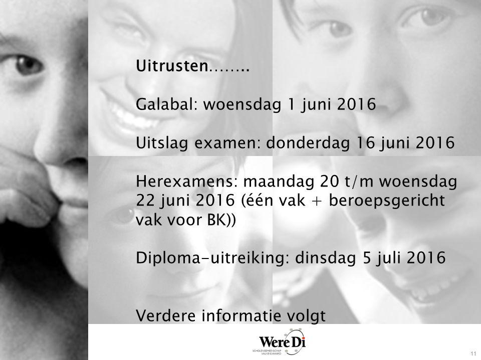 11 Uitrusten…….. Galabal: woensdag 1 juni 2016 Uitslag examen: donderdag 16 juni 2016 Herexamens: maandag 20 t/m woensdag 22 juni 2016 (één vak + bero