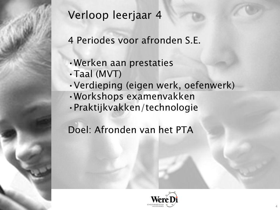 4 Verloop leerjaar 4 4 Periodes voor afronden S.E. Werken aan prestaties Taal (MVT) Verdieping (eigen werk, oefenwerk) Workshops examenvakken Praktijk