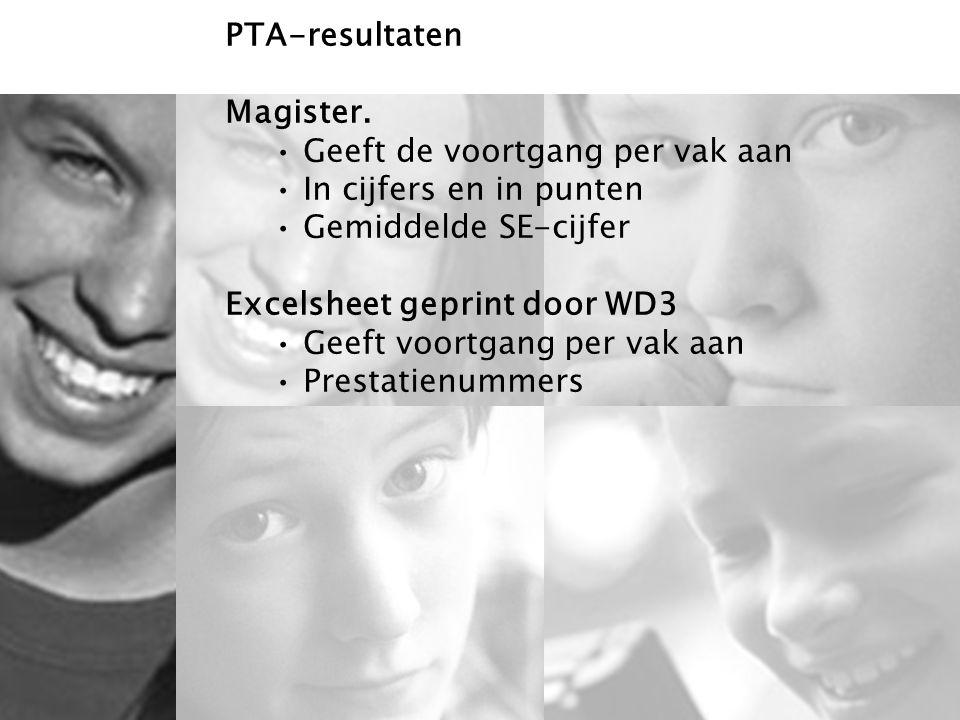 6 PTA-resultaten Magister. Geeft de voortgang per vak aan In cijfers en in punten Gemiddelde SE-cijfer Excelsheet geprint door WD3 Geeft voortgang per