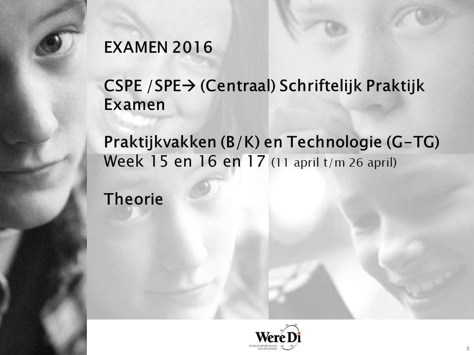 8 EXAMEN 2016 CSPE /SPE  (Centraal) Schriftelijk Praktijk Examen Praktijkvakken (B/K) en Technologie (G-TG) Week 15 en 16 en 17 (11 april t/m 26 april) Theorie