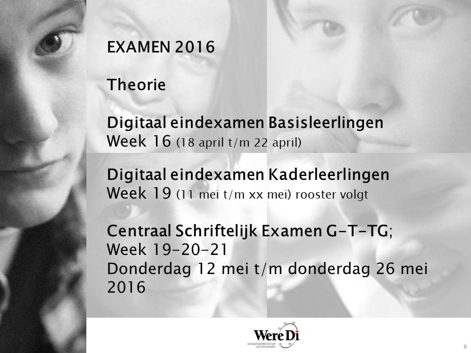 9 EXAMEN 2016 Theorie Digitaal eindexamen Basisleerlingen Week 16 (18 april t/m 22 april) Digitaal eindexamen Kaderleerlingen Week 19 (11 mei t/m xx m