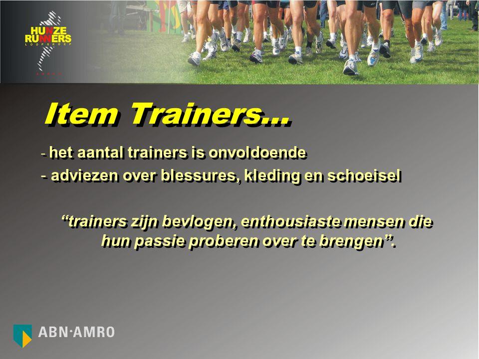 Item Trainers… - het aantal trainers is onvoldoende - adviezen over blessures, kleding en schoeisel trainers zijn bevlogen, enthousiaste mensen die hun passie proberen over te brengen .