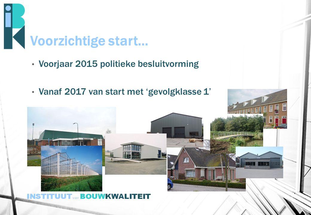 Voorzichtige start… Voorjaar 2015 politieke besluitvorming Vanaf 2017 van start met 'gevolgklasse 1'