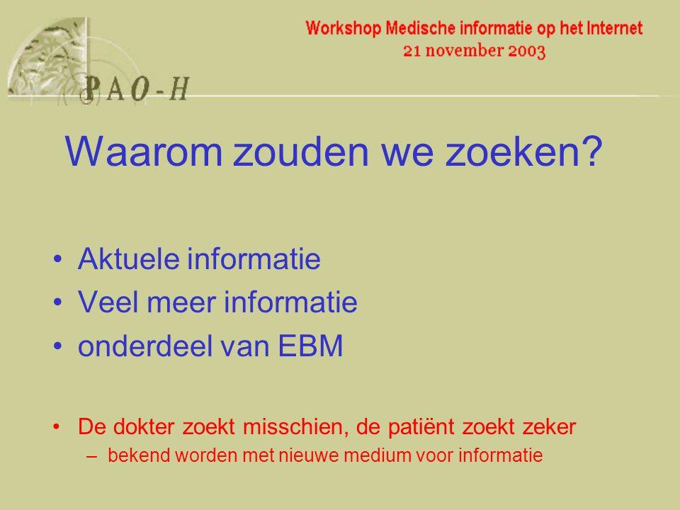 Aktuele informatie Veel meer informatie onderdeel van EBM De dokter zoekt misschien, de patiënt zoekt zeker –bekend worden met nieuwe medium voor informatie Waarom zouden we zoeken