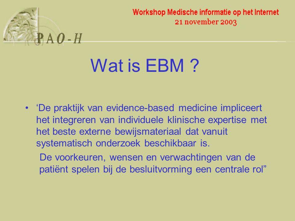 'De praktijk van evidence-based medicine impliceert het integreren van individuele klinische expertise met het beste externe bewijsmateriaal dat vanuit systematisch onderzoek beschikbaar is.