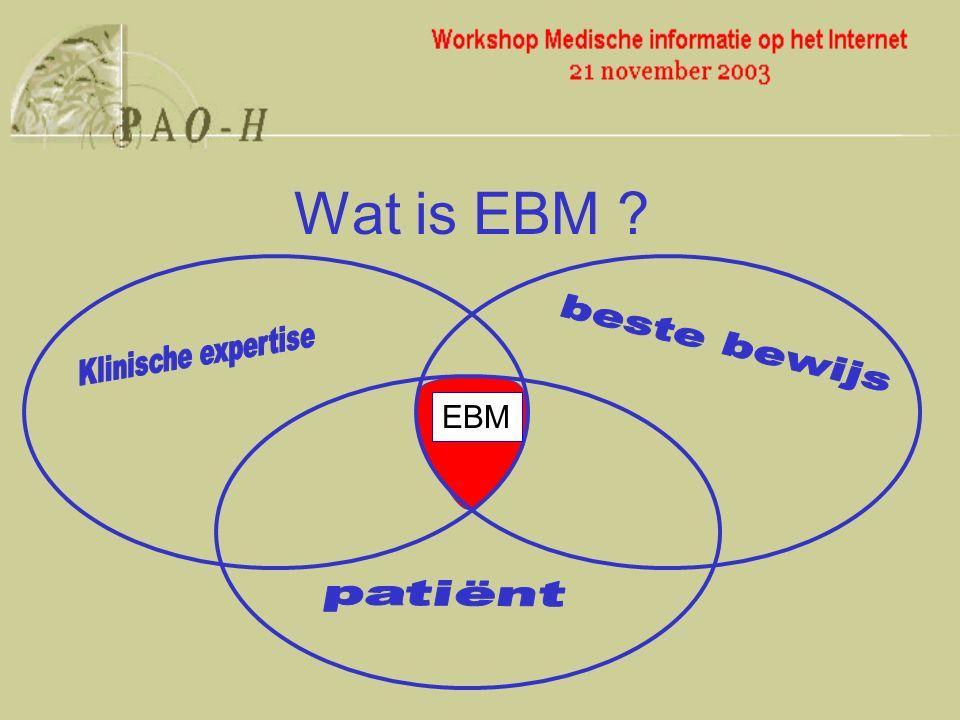 onderzoekscyclus Klinisch probleem onderzoekbare vraag Literatuur verzamelen Kritisch lezen Wat leert dit mij over het probleem van mijn patiënt Evaluatie PICO Internet