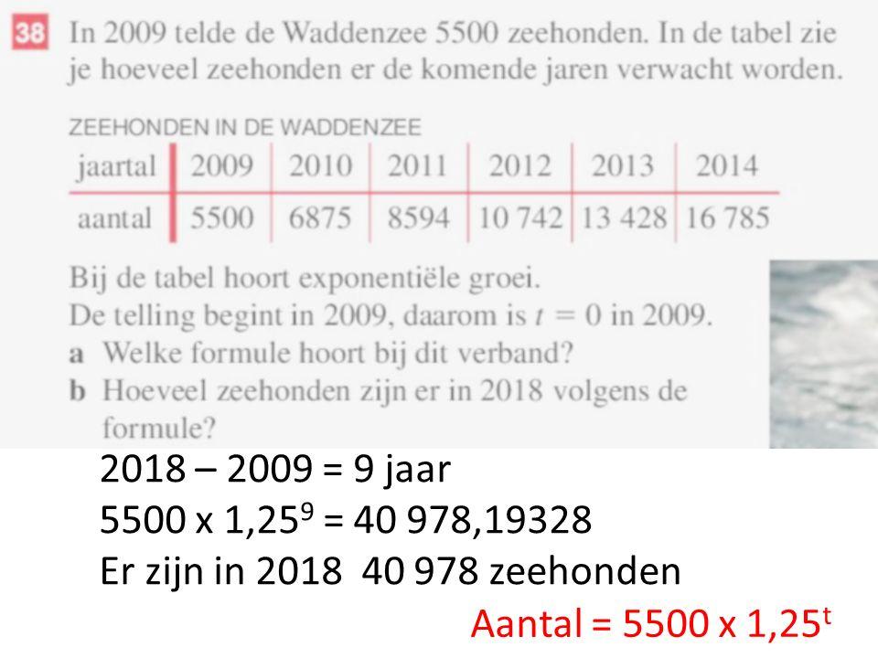 2018 – 2009 = 9 jaar 5500 x 1,25 9 = 40 978,19328 Er zijn in 2018 40 978 zeehonden
