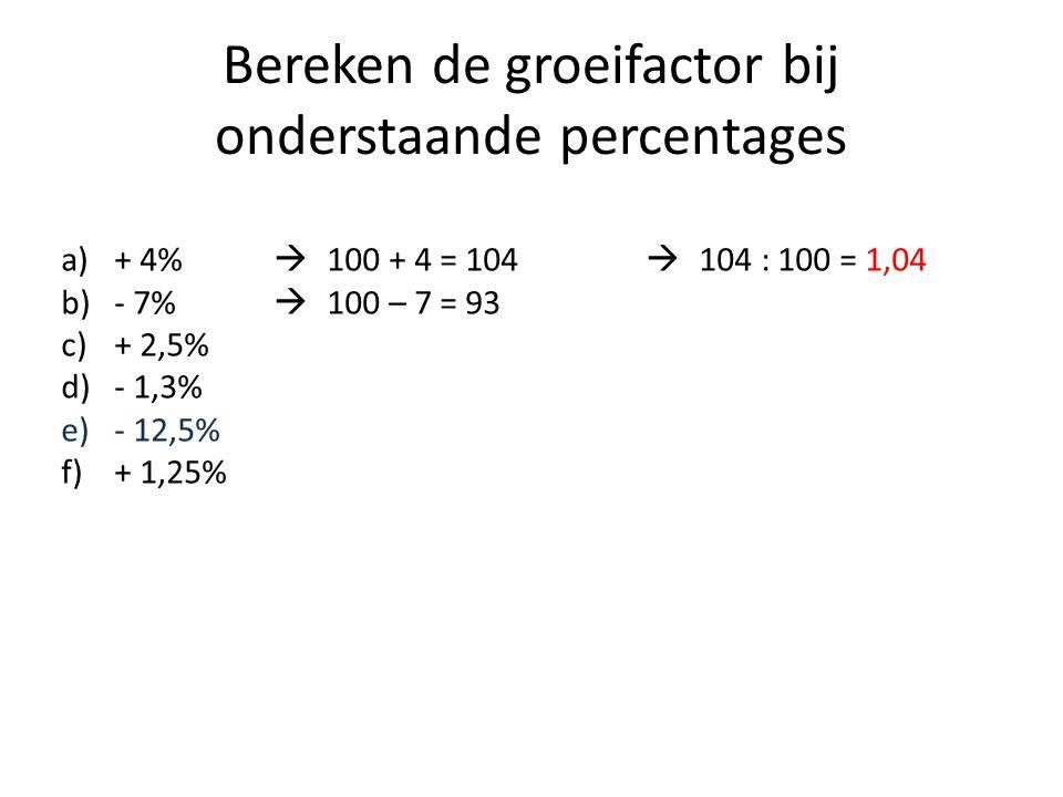 Bereken de groeifactor bij onderstaande percentages a)+ 4%  100 + 4 = 104  104 : 100 = 1,04 b)- 7%  100 – 7 = 93 c)+ 2,5% d)- 1,3% e)- 12,5% f)+ 1,25%