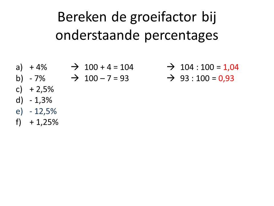 Bereken de groeifactor bij onderstaande percentages a)+ 4%  100 + 4 = 104  104 : 100 = 1,04 b)- 7%  100 – 7 = 93  93 : 100 = 0,93 c)+ 2,5% d)- 1,3% e)- 12,5% f)+ 1,25%