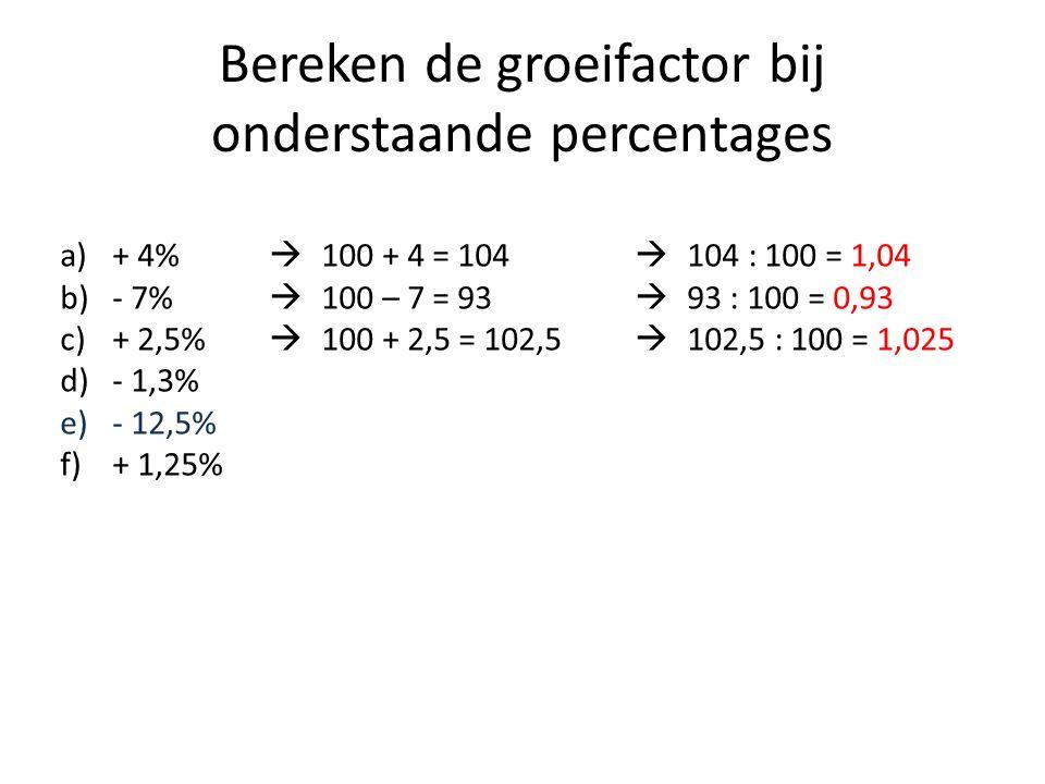 Bereken de groeifactor bij onderstaande percentages a)+ 4%  100 + 4 = 104  104 : 100 = 1,04 b)- 7%  100 – 7 = 93  93 : 100 = 0,93 c)+ 2,5%  100 + 2,5 = 102,5  102,5 : 100 = 1,025 d)- 1,3% e)- 12,5% f)+ 1,25%
