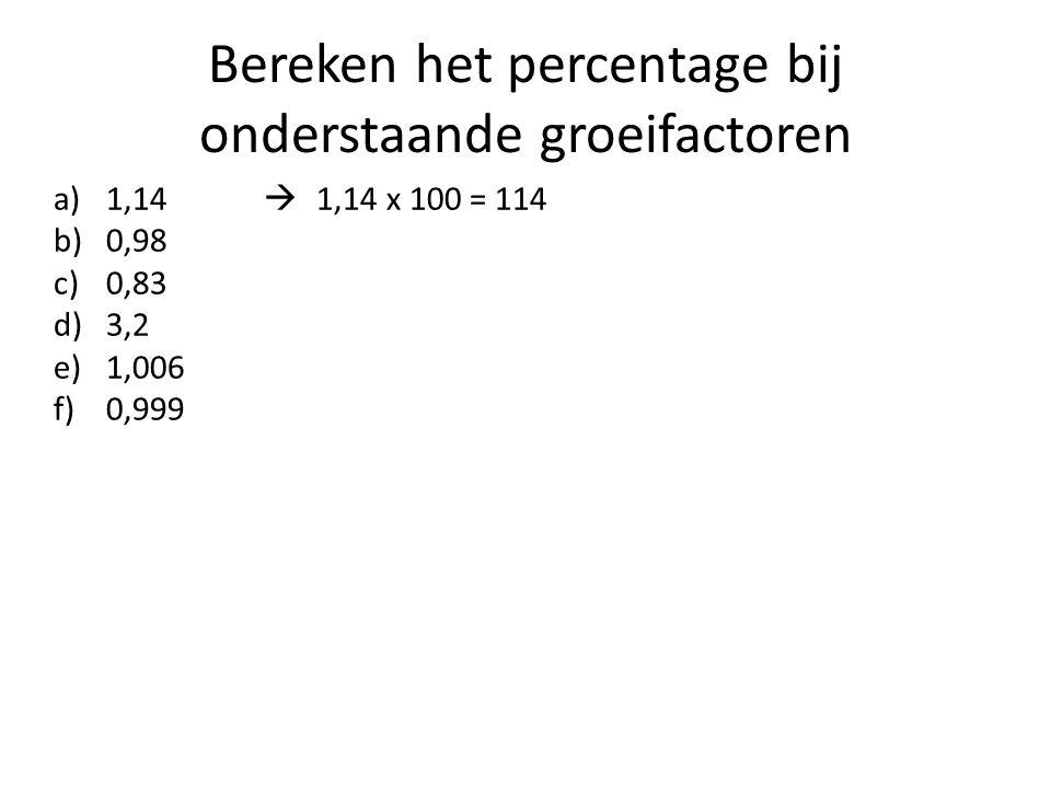 Bereken het percentage bij onderstaande groeifactoren a)1,14  1,14 x 100 = 114 b)0,98 c)0,83 d)3,2 e)1,006 f)0,999