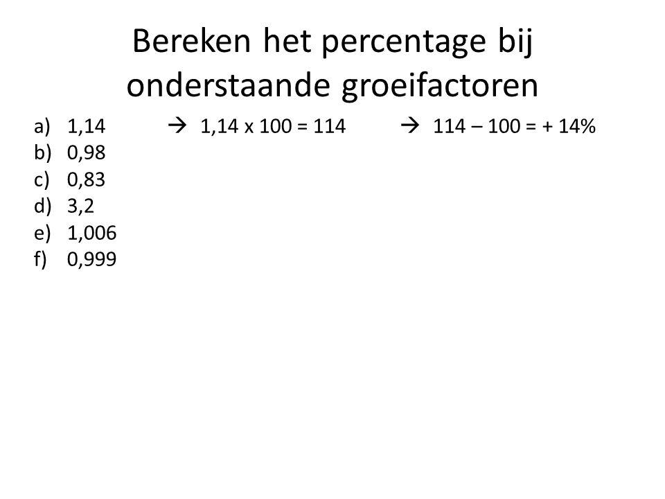 Bereken het percentage bij onderstaande groeifactoren a)1,14  1,14 x 100 = 114  114 – 100 = + 14% b)0,98 c)0,83 d)3,2 e)1,006 f)0,999