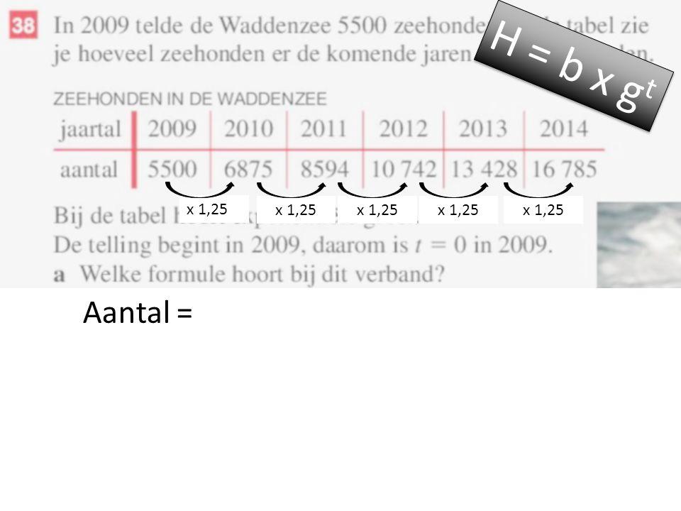 Aantal = H = b x g t x 1,25