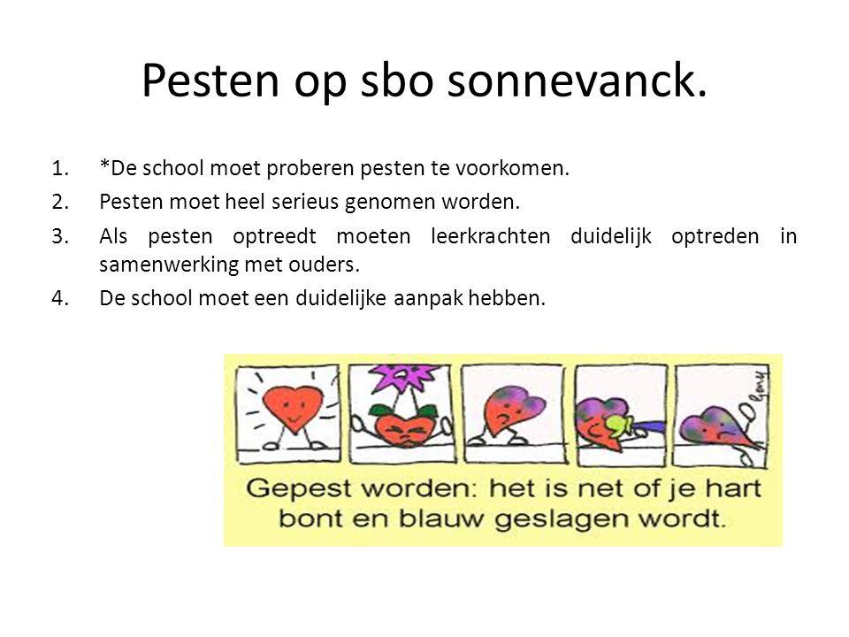 Pesten op sbo sonnevanck. 1.*De school moet proberen pesten te voorkomen. 2.Pesten moet heel serieus genomen worden. 3.Als pesten optreedt moeten leer