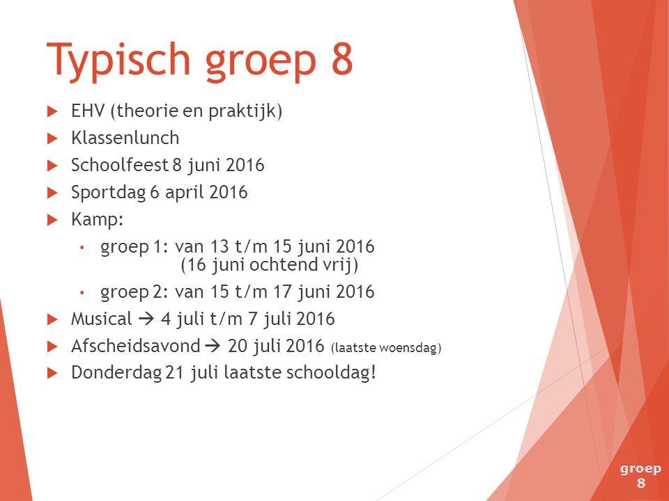  EHV (theorie en praktijk)  Klassenlunch  Schoolfeest 8 juni 2016  Sportdag 6 april 2016  Kamp: groep 1: van 13 t/m 15 juni 2016 (16 juni ochtend