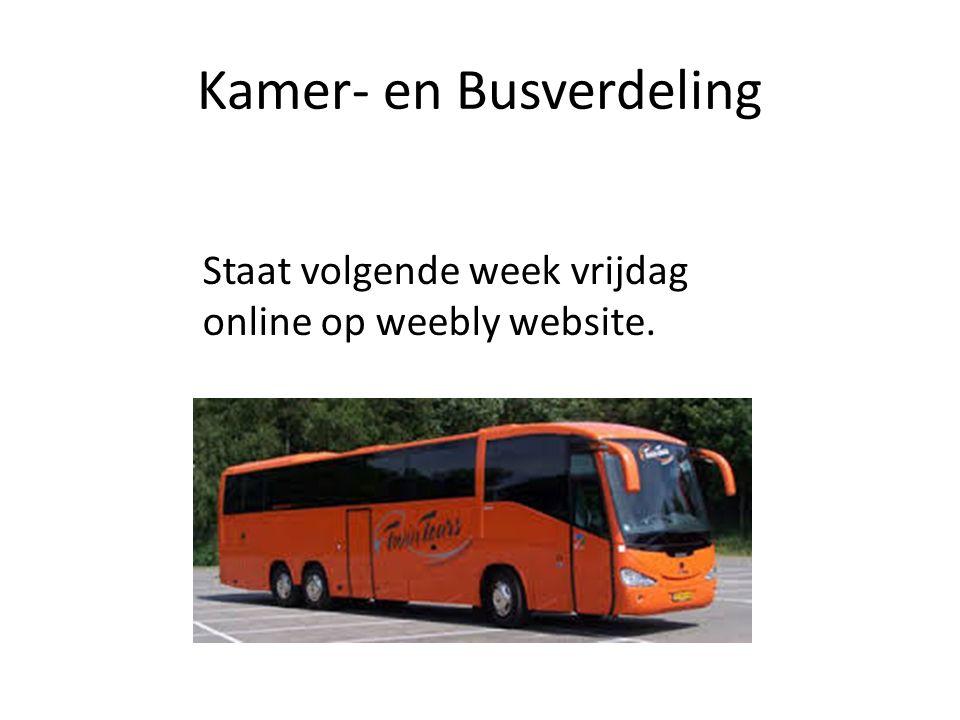 Kamer- en Busverdeling Staat volgende week vrijdag online op weebly website.