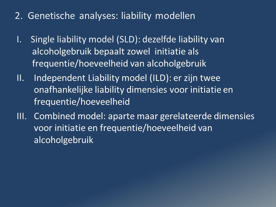 2. Genetische analyses: liability modellen I. Single liability model (SLD): dezelfde liability van alcoholgebruik bepaalt zowel initiatie als frequent