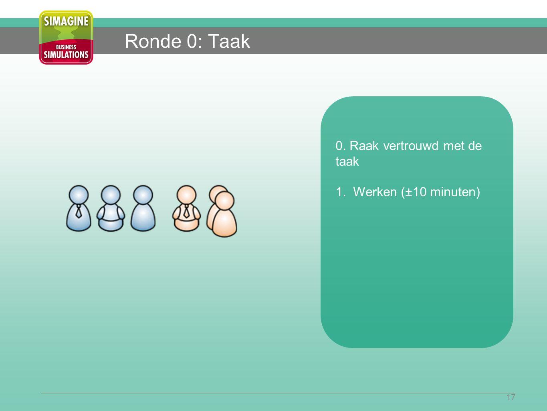 17 Ronde 0: Taak 0. Raak vertrouwd met de taak 1. Werken (±10 minuten)