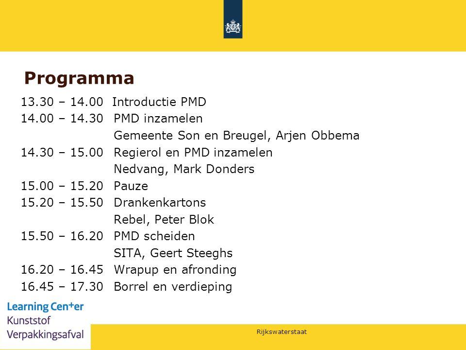 Rijkswaterstaat 10 Programma 13.30 – 14.00 Introductie PMD 14.00 – 14.30 PMD inzamelen Gemeente Son en Breugel, Arjen Obbema 14.30 – 15.00 Regierol en