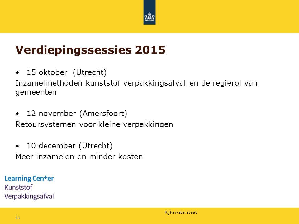 Rijkswaterstaat Verdiepingssessies 2015 15 oktober (Utrecht) Inzamelmethoden kunststof verpakkingsafval en de regierol van gemeenten 12 november (Amer