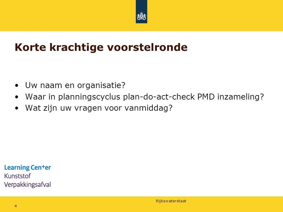 Rijkswaterstaat Korte krachtige voorstelronde Uw naam en organisatie? Waar in planningscyclus plan-do-act-check PMD inzameling? Wat zijn uw vragen voo