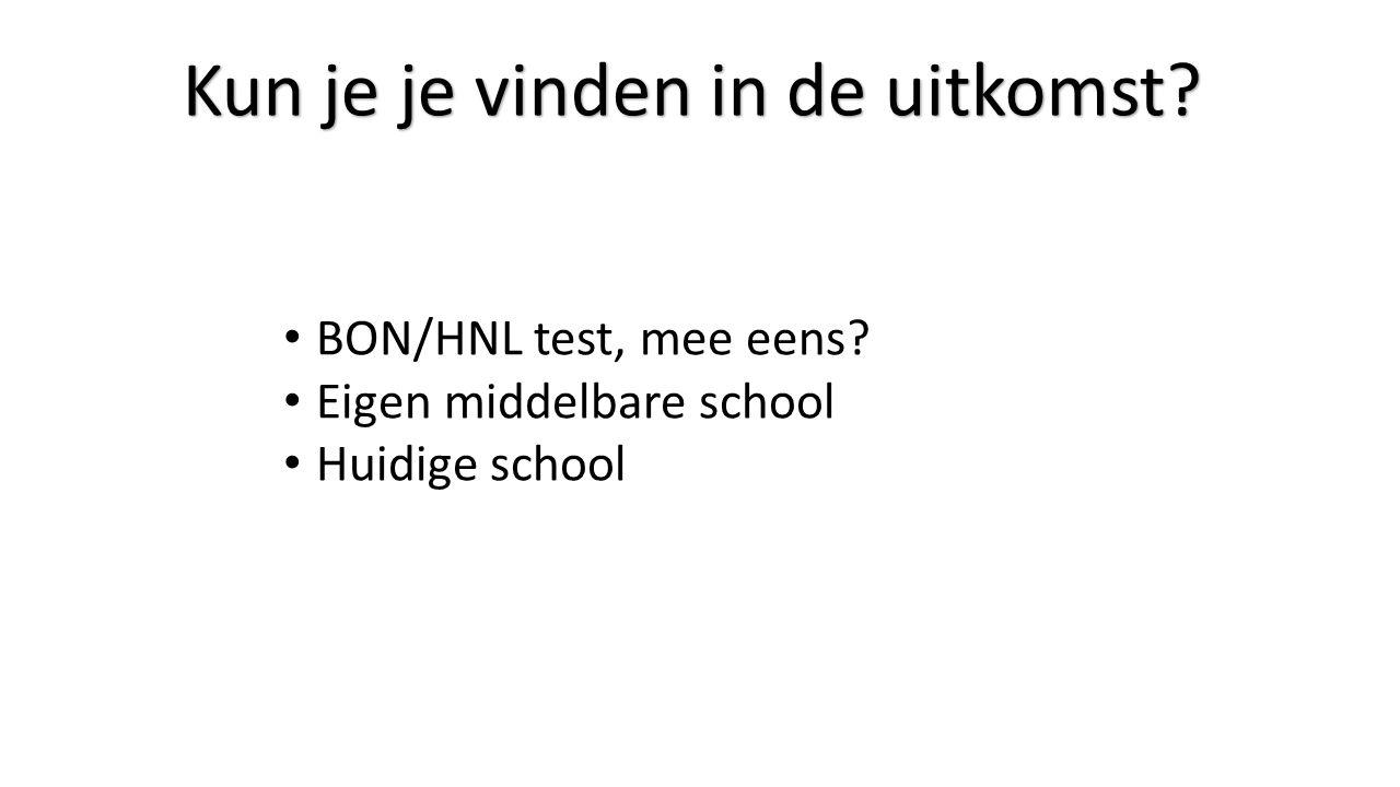 Kun je je vinden in de uitkomst? BON/HNL test, mee eens? Eigen middelbare school Huidige school