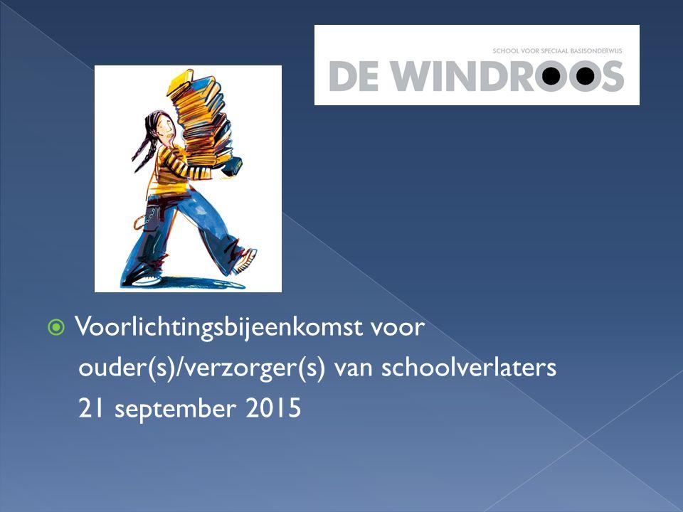  Voorlichtingsbijeenkomst voor ouder(s)/verzorger(s) van schoolverlaters 21 september 2015