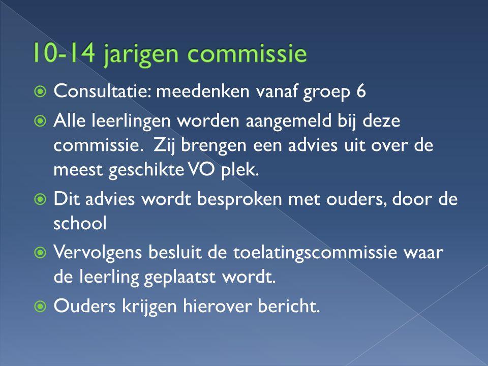  Consultatie: meedenken vanaf groep 6  Alle leerlingen worden aangemeld bij deze commissie. Zij brengen een advies uit over de meest geschikte VO pl
