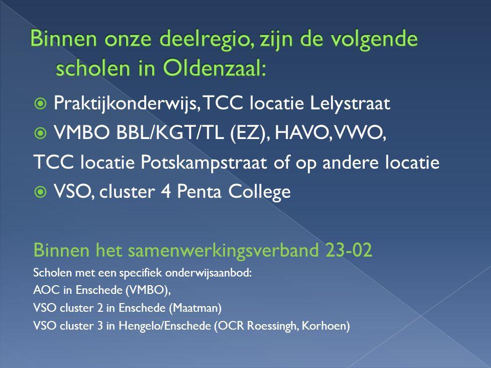  Praktijkonderwijs, TCC locatie Lelystraat  VMBO BBL/KGT/TL (EZ), HAVO, VWO, TCC locatie Potskampstraat of op andere locatie  VSO, cluster 4 Penta