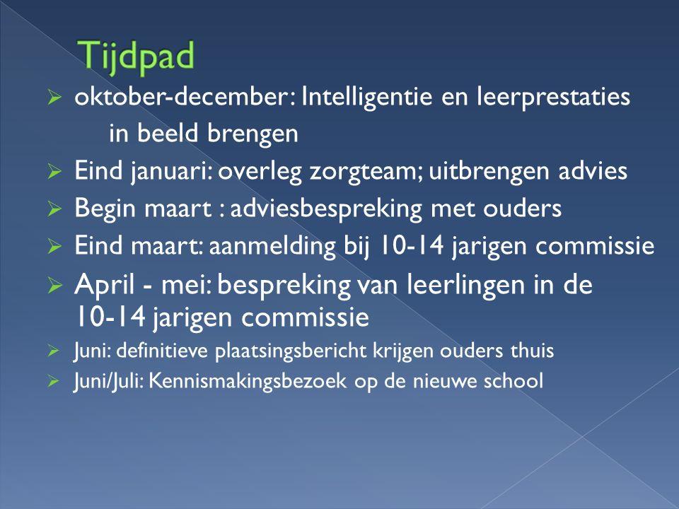  oktober-december: Intelligentie en leerprestaties in beeld brengen  Eind januari: overleg zorgteam; uitbrengen advies  Begin maart : adviesbesprek