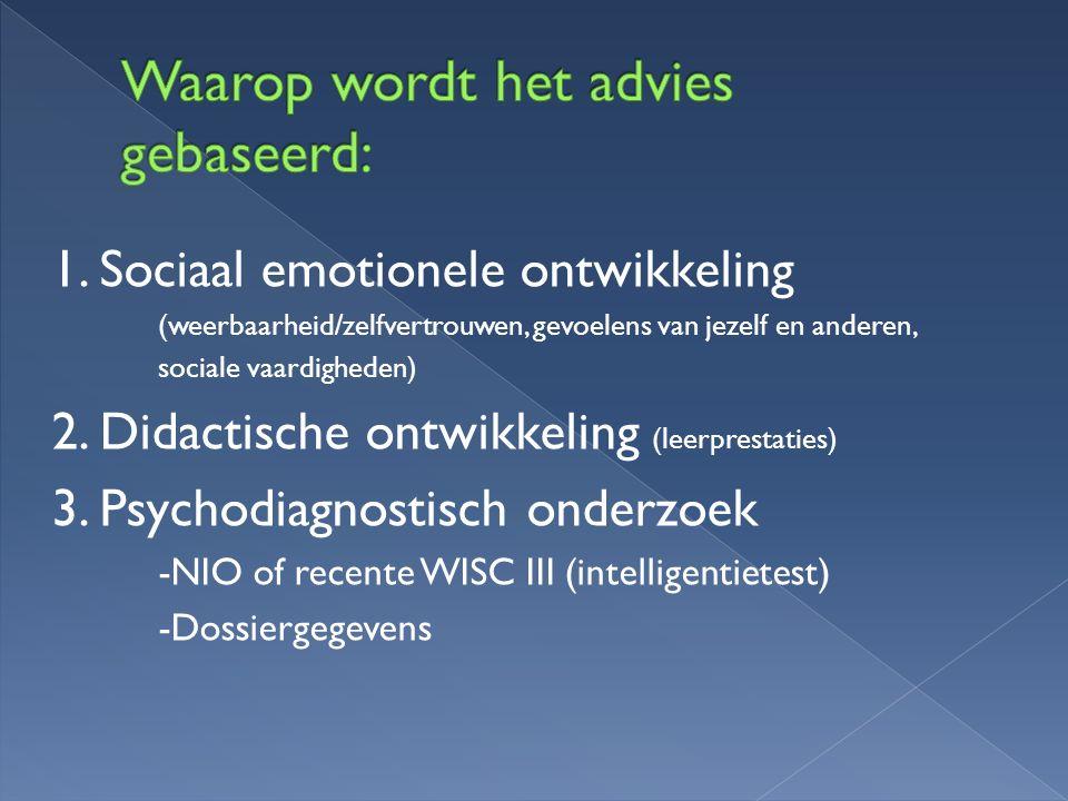 1. Sociaal emotionele ontwikkeling (weerbaarheid/zelfvertrouwen, gevoelens van jezelf en anderen, sociale vaardigheden) 2. Didactische ontwikkeling (l